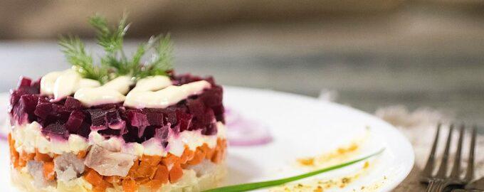 Многослойный салат с селедкой