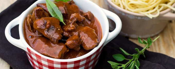 veal diced cooked gulasch