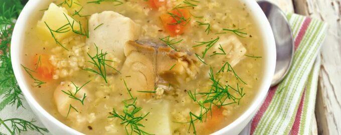 ячменный суп из рыбы