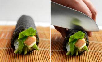 5 шаг крутим суши и режем